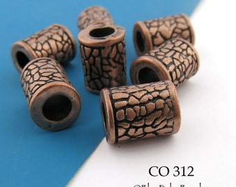 10mm Large Hole Copper Tube Beads with Crackle Pattern, 10mm x 8mm  (CO 312) 6 pcs BlueEchoBeads