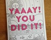 Yaaay! You Did It Letterpress Card Blank Inside