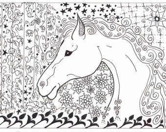 horse art / black and white / wall decor / horse lover / small art  / decorative horse / zentangle / child art / animal love / 8 x 10 / P150