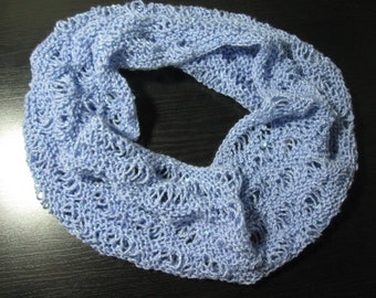 Drop Stitch Lace Cowl PDF pattern for summer, light weight yarn project, light weight summer scarf pattern, simple lace pattern cowl