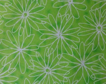 Cotton fabric DAISY Funky Floral Bright Lime Green 1 Yard Ombre Color White Daisies Quilt Quality Fun Fabric for Creative Genius Projects