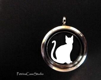Cat Papercut in Glass Pendant Keepsake -Design 1420
