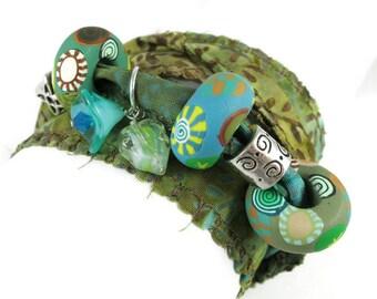 Cotton Batik Wrap Bracelet Handmade Polymer Clay Beads Glass Flower Leaf Charms Necklace Anklet Yoga Bohemian Jewelry Gypsy Soul Hippie
