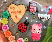 Large Go Vegan fridge magnet. OOAK