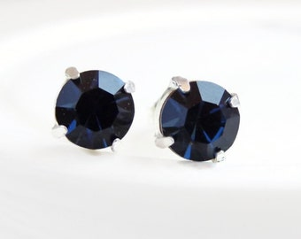 Navy Blue Crystal Post Earrings - Blue Earrings - Bridesmaid Jewelry - September Birthstone - crystal earrings - Swarovski earrings