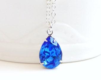 Vintage Sapphire Blue Crystal Teardrop Pear Pendant  - Bridal Jewelry - Weddings