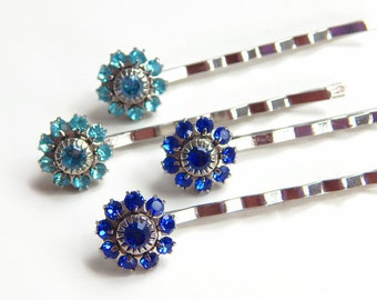 Blue flower bobby pins - Swarovski crystal - crystal bobby pins - hair pins - crystal hair pins - something blue - wedding accessories