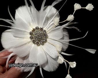 Bridal Fascinator, Flower Headpiece, Feather Hair Clip, Wedding Hair Clip, Flower Hair Clip, Wedding Fascinator, Wedding Barrette, NIRVANI