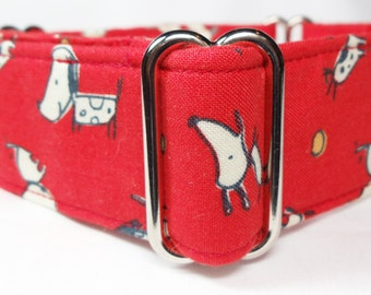 Adorable Puppies on Red Greyhound, Whippet, Galgo, Pit Bull, Dog Sighthound Martingale Collar