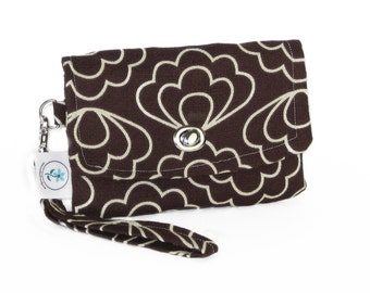 Organic Handmade Mini Clutch - Brown Blossom - Free Shipping