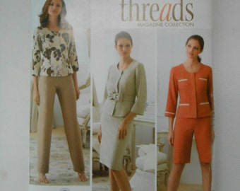 Threads Pants City Shorts Skirt and Jacket Pattern Simplicity 3845 Size 8 10 12 14 16 Bust 31 1/2 32 1/2 34 36 38 UNCUT
