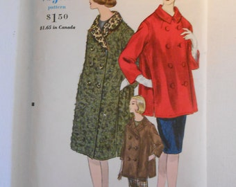 Vintage 60s Misses Double Breasted Coat and Topper Pattern Vogue 5639 Size 14 Bust 34