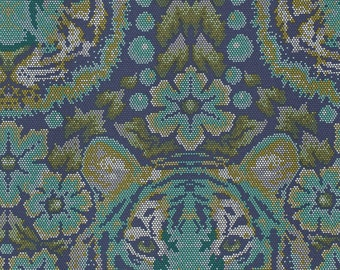 Eden Crouching Tiger Sapphire - Tula Pink - cotton woven fabric by the yard