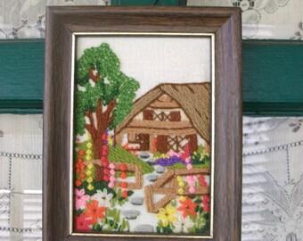 Vintage Yarn Crewel Embroidery Garden Cottage Framed