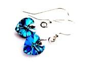 Sterling Silver & Swarovski Crystal Earrings, Bermuda Blue Crystal Heart Earrings, Gift For Mom, Ready To Ship