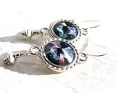 Swarovski Rivoli Earrings, Blue Crystal Earrings, Sterling Silver Earrings, Handmade For Her, Special Gift For Her, Ready To Ship