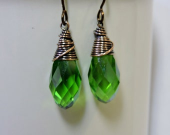 Copper Wire Wrapped Lime Green Crystal Briolettes