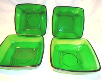 4-Vintage Anchor Hocking Forest Green Charm Dessert Bowls