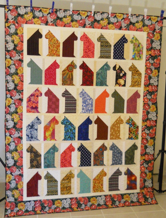 Cat Lover Quilt / Twin Quilt / Oversized Twin Quilt / Scrappy