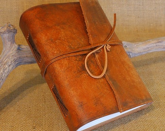 A5, Medium, Distressed Leather Journal, Leather Wraparound Journal, Travel Journal, Tan, Brown Leather, Wrap Notebook, Blank Book, Rustic.