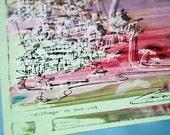CLIFFHANGER | unique silkscreen print | California beach scene | pastel lavender, mint chocolate | by Kathryn DiLego