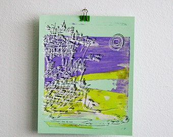 CLIFFHANGER   Pacific beach city   purple and yellow on mint green   fine art screenprint by Kathryn DiLego