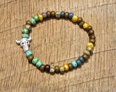 Rustic Cow Skull Bracelet with Czech Glass Beads country western cowgirl farm chic steer head turquoise brown beige earth tone color