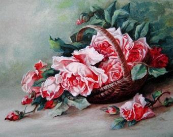 Cabbage Roses Print Catherine Klein Pink Rose