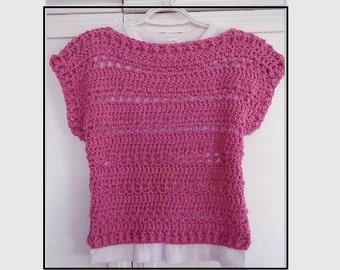 CROCHET SWEATER PATTERN, Pink Summer Shell Top, 5 yrs to Adult 4XL, Quick and Easy Pattern, #803, Women's clothing, Children, girls, teens