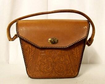 Vintage Tooled Leather Handbag - Purse - Western Cowboy Boho Hippie Fashion - Distressed