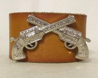 Rhinestone Pistols Brown Leather Cuff - Western Boho Bracelet - upcycled jewelry Hippie
