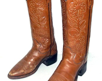 Distressed Rodeo Cowboy Boots Mens Size 6.5 D Tan Western Wear Country Flowers