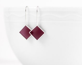 Panic Earrings marsala red/brown resin and sterling silver earring-  gift