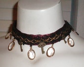 Deep Red and Black Steampunk Choker Necklace, Dangling Glass Ovals and Key Accents