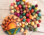 Organic Fair Trade 81 Pieces Of Brazil Acai Seed Beads handpainted gourd bead