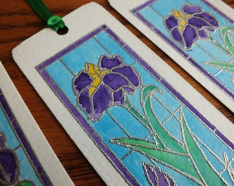 Hand Painted Bookmark - Iris Stained Glass