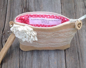 Personalized wristlet, custom clutch, maid of honor, flower girl, burlap lace wedding, bridesmaid clutch, rustic wedding, personalized gift