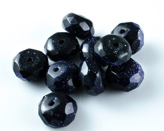 Blue Goldstone Faceted Rondelle Beads 8mm