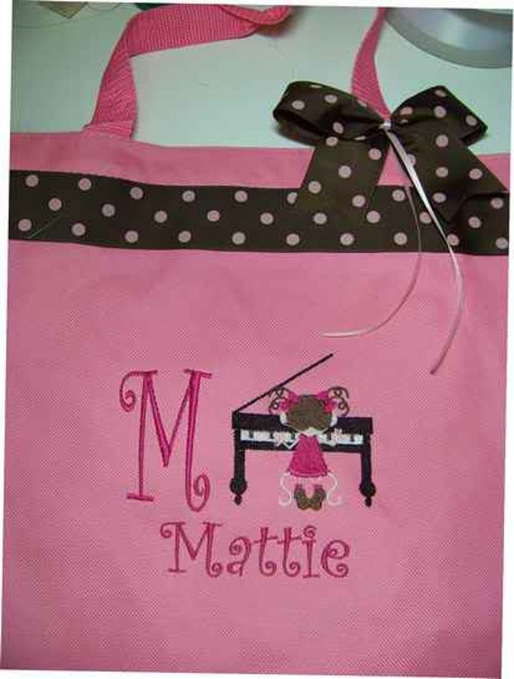Piano Personalized tote bag with Ribbon enhancements.  Piano student or teacher Gift idea