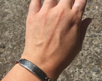 FREE SHIPPING vintage bracelet ready to be engraved marked Nickel Silver