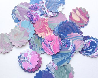 "30+ Hand Marbled  2"" Scalloped Circles - Gift Tags - Cardmaking - Craft Projects"