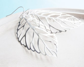 Silver Leaf Earrings - Silver Statement Earrings