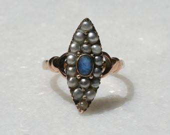 Vintage Victorian Gold Pearl and Sapphire Ring Sz 8