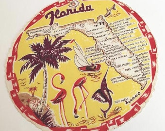 Vintage Florida handkerchief hankie round flamingos and palm trees Miami Florida souvenir Floridiana