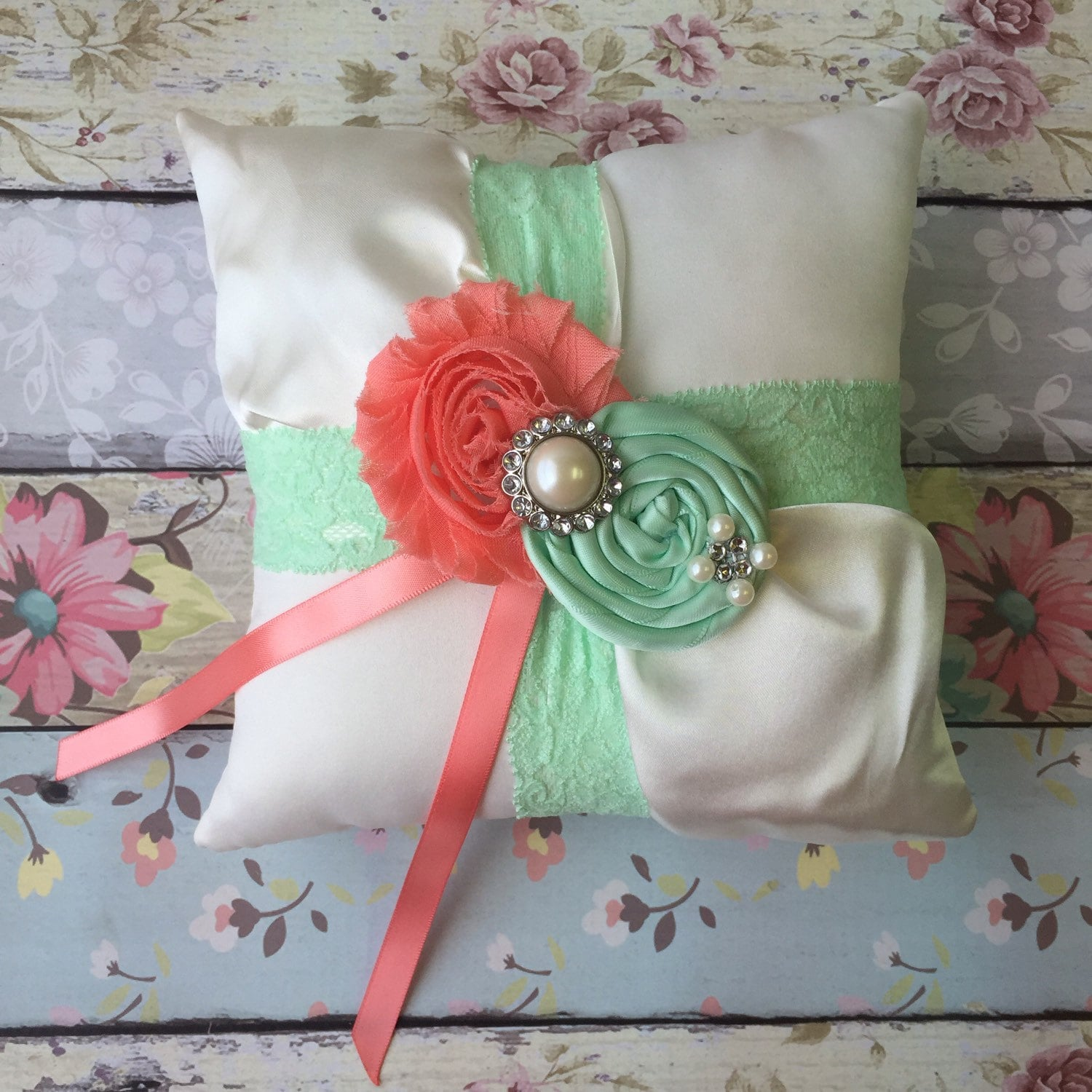 Mint and coral ring bearer pillow rustic wedding pillow