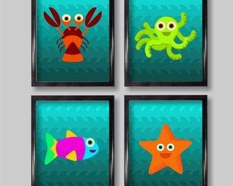 Ocean Creatures Nursery Wall Art