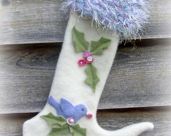 Felted Wool Christmas Stocking with Blue Bird and Holly