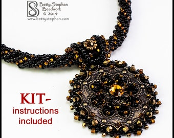 Metallia Necklace Kit- Copper- bead embroidery, bead weaving instructions included