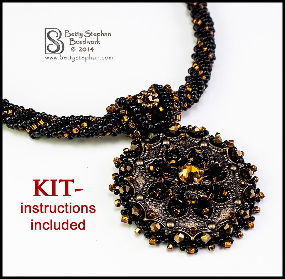 Metallia necklace kit copper bead embroidery weaving