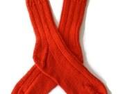 Socks - Hand Knit Women's Socks in Hot Tamale - Size 7-8.5